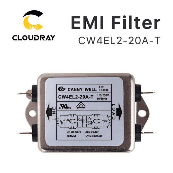 Cloudray Power EMI Filter CW4L2-10A-T / CW4L2-20A-T Single Phase AC 115V / 250V 20A 50/60HZ