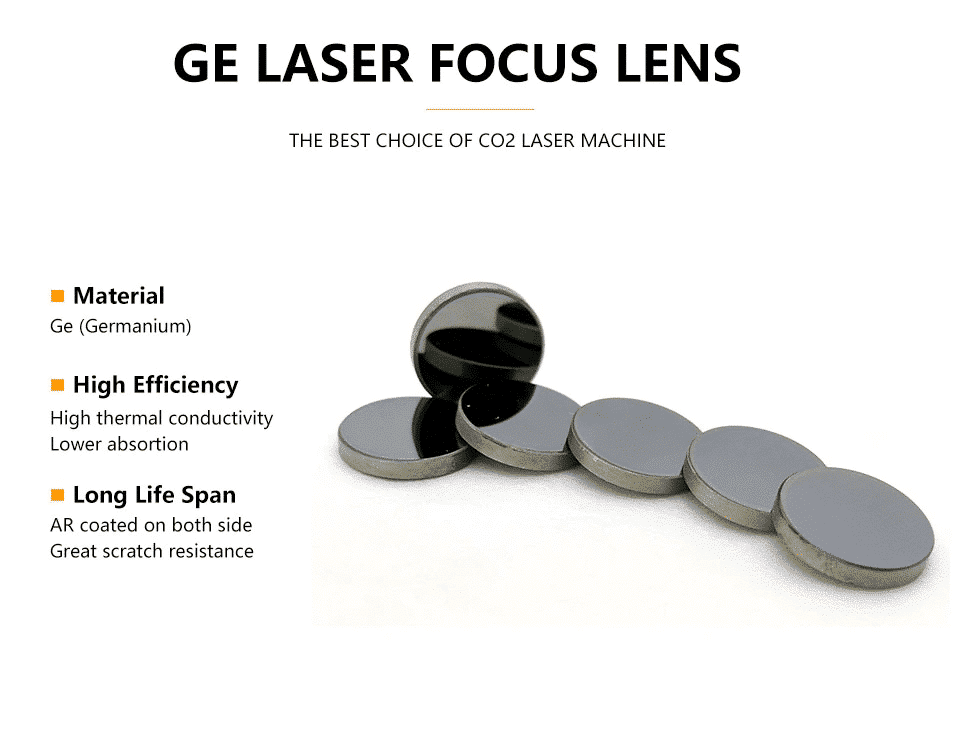SuperFine Ge Focusing Lens DIa. 12mm Focal 50.8mm for CO2 Laser Engraving Cutting