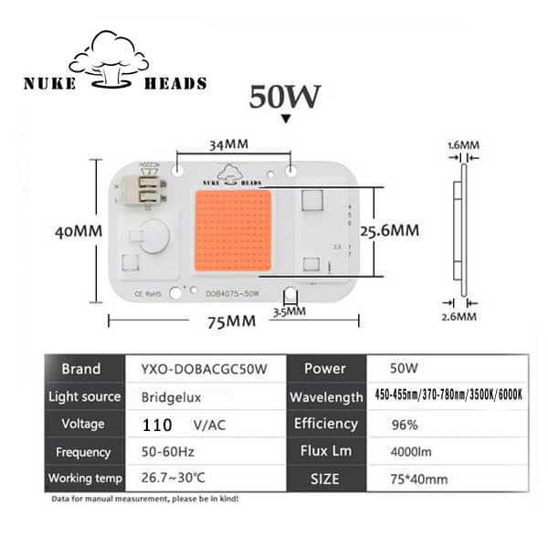 Nuke Head 110V AC 50W Driverless Solderless COB/DOB led grow light chip. Blue - Full Spectrum - Warm white - Cold white