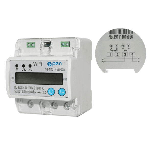 WiFi smart electric energy meter. Single phase Din rail 5(60)A 110V with over and under voltage current protection