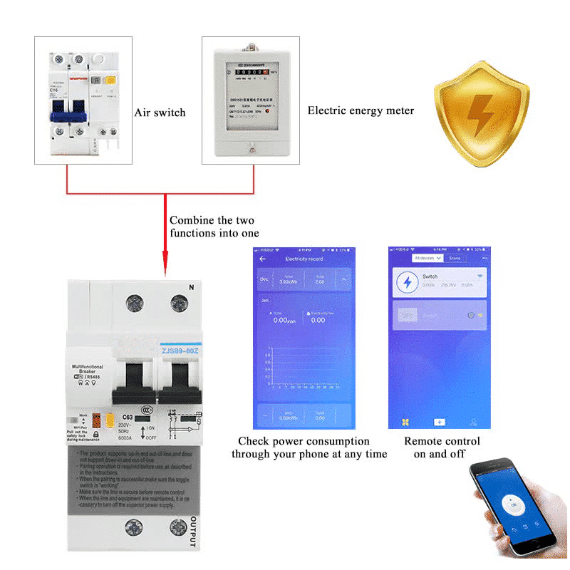 2P Remote Control Wifi Circuit Breaker with energy monitoring compatiable with alexa and google home for Smart home