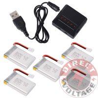 USB Charger + 5pcs 3.7V 25C 850mAh Li-Po Battery for Syma X5SW X5SC Drone RC176