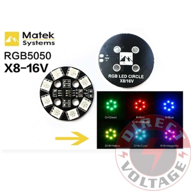 Matek RGB LED Circle Board 7-colors X8 16V For FPV RC