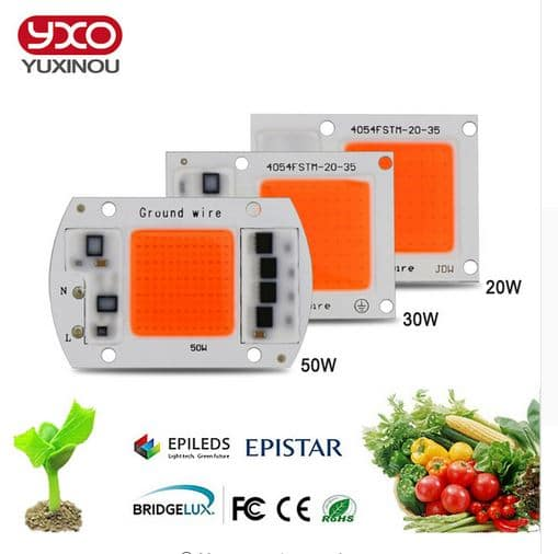 COB LED Grow Chip Phyto Lamp Full Spectrum LED Diode Grow Lights For Seedlings Indoor DIY Hydroponics AC 220V 20W 30W 50W