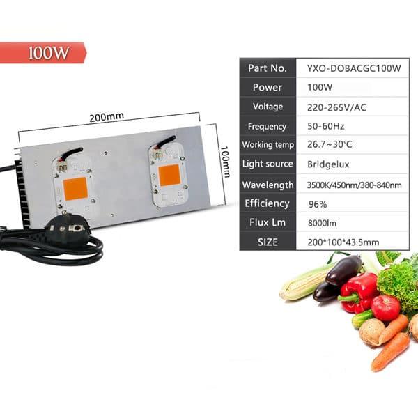 Led Grow Light Full Spectrum 110V 100W 200W COB DOB for Indoor Hydroponics