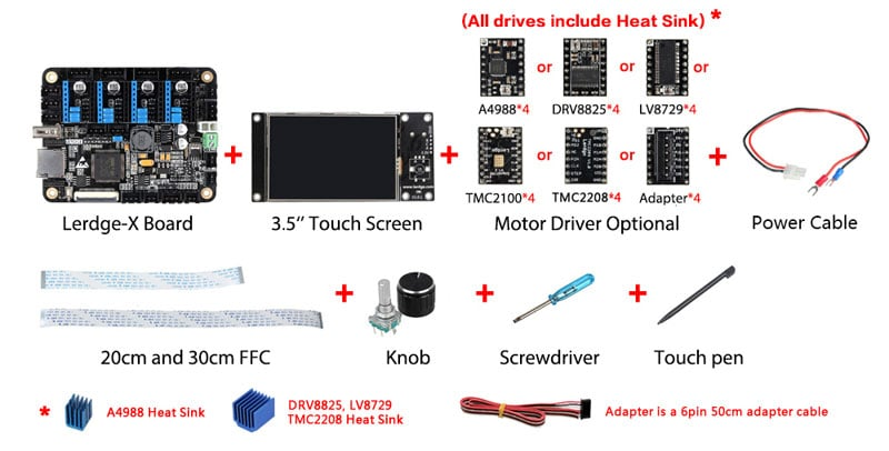 """LERDGE-X 3D Printer Controller Board for Reprap 3d printer motherboard with ARM 32Bit Mainboard control with 3.5""""Touch Screen"""