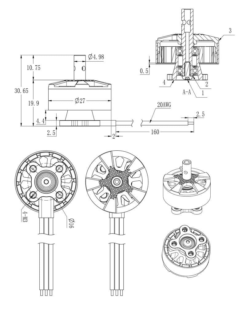 BrotherHobby Returner R6 2207 1750KV 2550KV 5-6S POPO Pro Shaft Brushless Motor for FPV Racing Drone