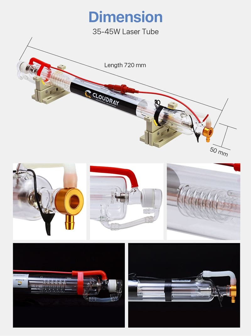 40W CO2 Laser Tube Metal Head 720mm Glass Pipe for Laser Engraver Cutter Machine