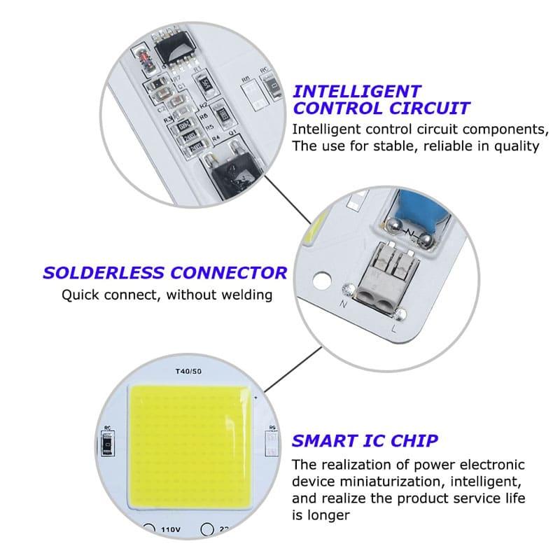 110V Led Chip COB light source 50w driverless solderless warm white chip for grow lamp. Full Spectrum/ Warm White/ Cold White/Full Spectrum White Full Spectrum