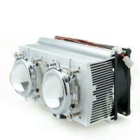 Double Aluminium Heatsink Copper Core Cooling Fan+Lens 60 degree For 20-200W High power LED (Heatsink+44mm lens)