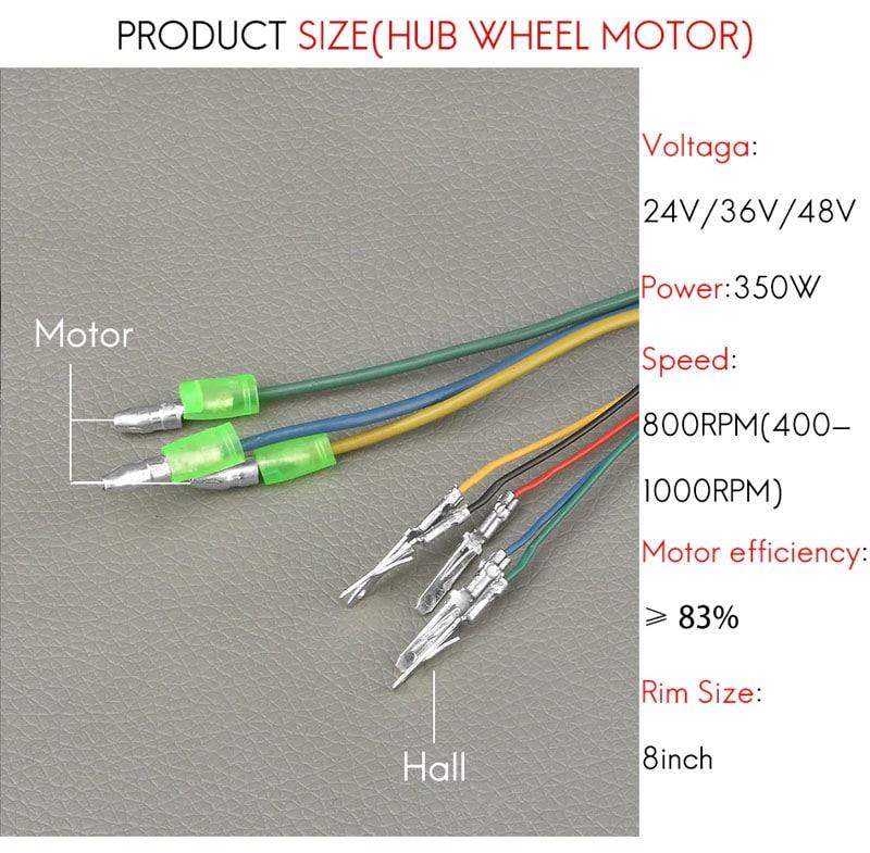 "Electric Scooter Hub Wheel Motor 24V 36V 48V DC Brushless Toothless 8"" Wheel Motor E-Scooter Wheel Bicycle Motor Wheel"