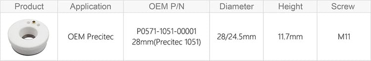 Cloudray Laser Ceramic 28mm/24.5mm OEM Precitec Lasermech KT B2 CON P0571-1051-00001 Nozzle Holder For Fiber Laser Cutting Head