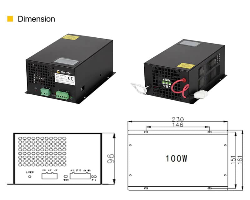 Cloudray 100W CO2 Laser Power Supply 110V for CO2 Laser Engraver MYJG-100W