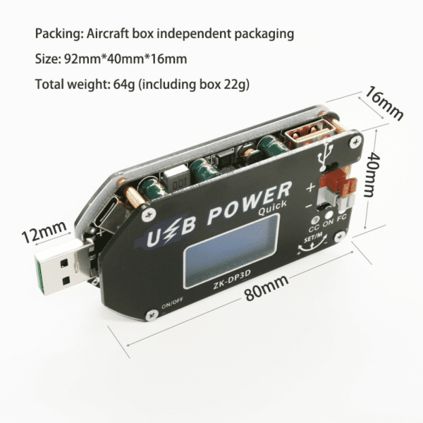 CNC USB TYEPE-C DC DC Converter CC CV 1-30V 2A 15W Power Module Adjustable Regulated power supply QC2.0 3.0 AFC
