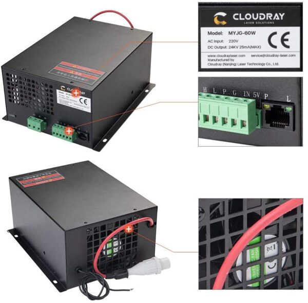 Cloudray 60W Co2 Laser Power Supply 110V for CO2 Laser Tubes MYJG-60W