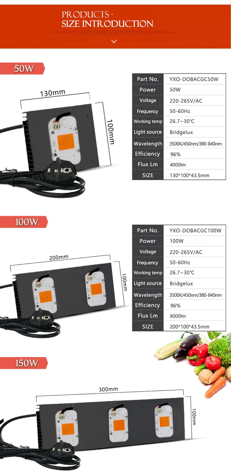 COB DOB Led Grow Light Full Spectrum 200W/ 400W For Vegetable Flower Indoor Hydroponic Greenhouse Plant Lamp