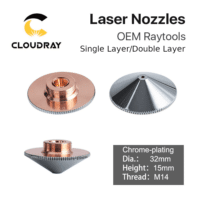 Cloudray Raytools A Type Dia.32mm H15 Caliber 0.8-6.0 Single/Double Layer CHROME Welding Laser Nozzles for Fiber Laser Cutting CNC Machine