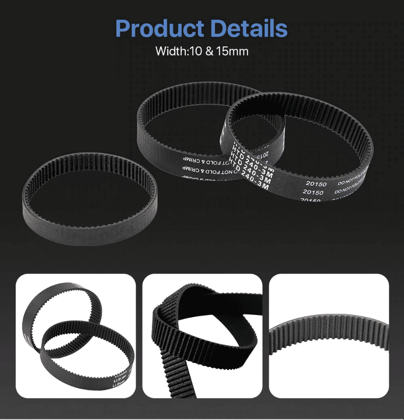 HTD 3M Closed Loop Belt Rubber Timing Belt Various Transmission for CO2 Laser Engraving Cutting Machine / 3D Printer